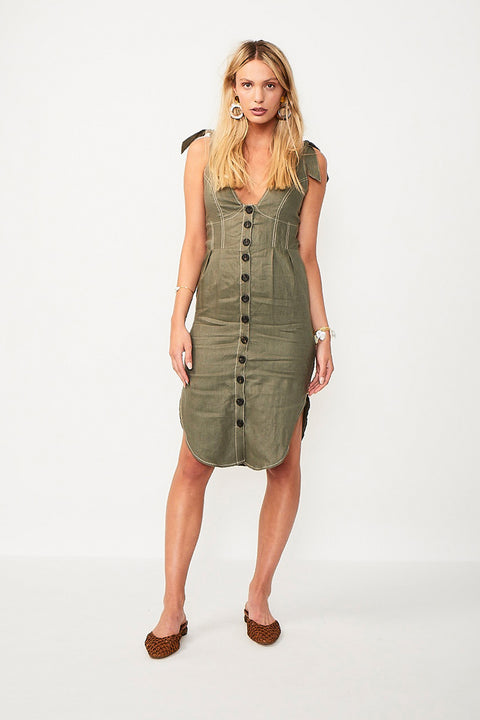 Wanderer Tie Shoulder Midi Dress - Khaki