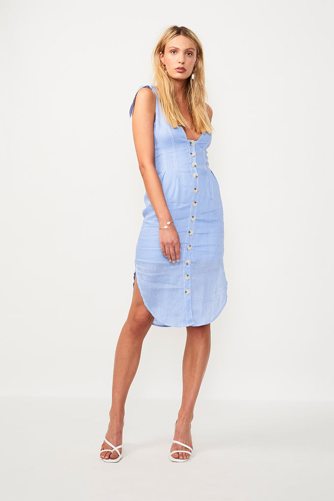 Azure Tie Shoulder Midi Dress - Blue