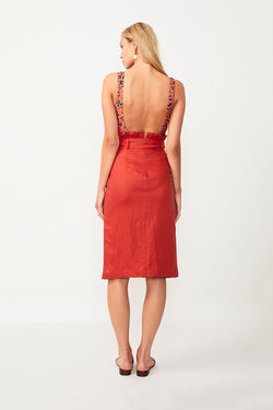 Rising Sun Paperbag Midi Skirt - Rust