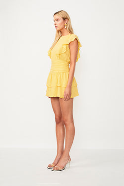 Morning Light Ruffled Mini Dress - Yellow