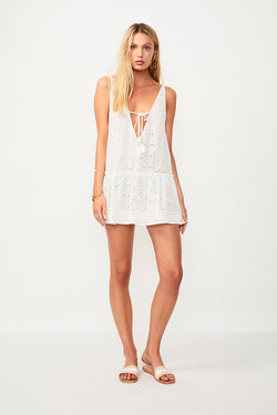 Azalea Drop Waist Cover Up - White