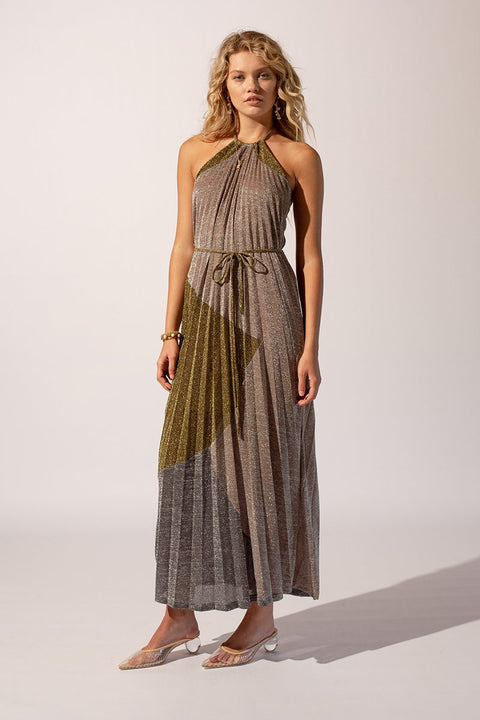 Luna Lurex Pleat Maxi Dress