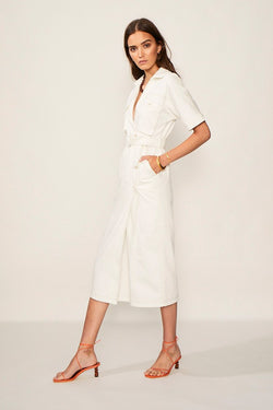 Lila Twill Button Wrap Dress
