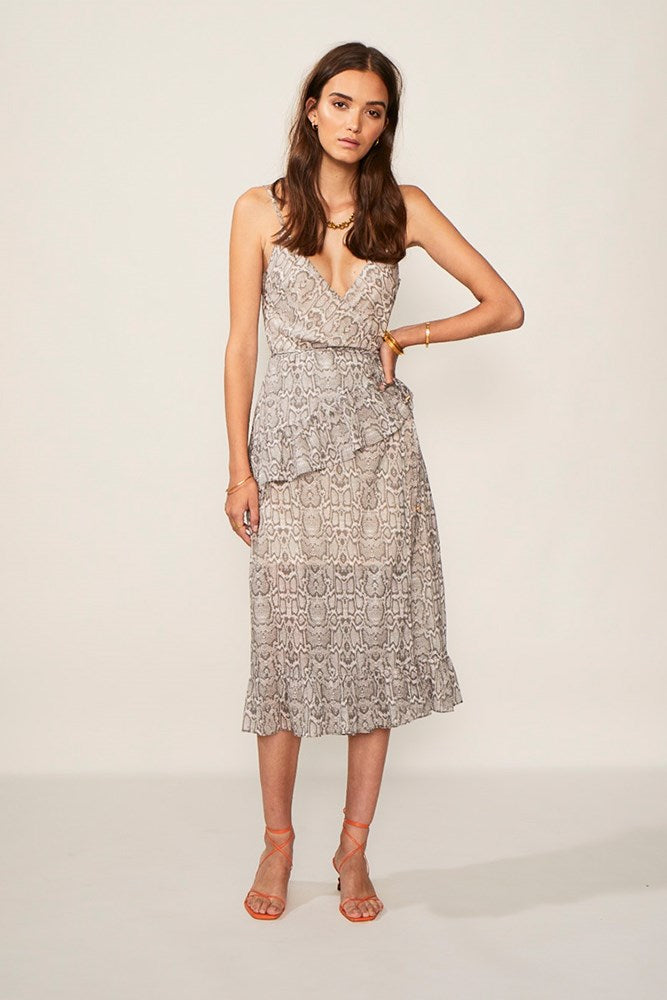 Sylvie Wrap Frill Midi Dress