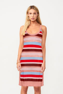 Midsummer Knitted Stripe Midi Dress - Pink/Red Stripe