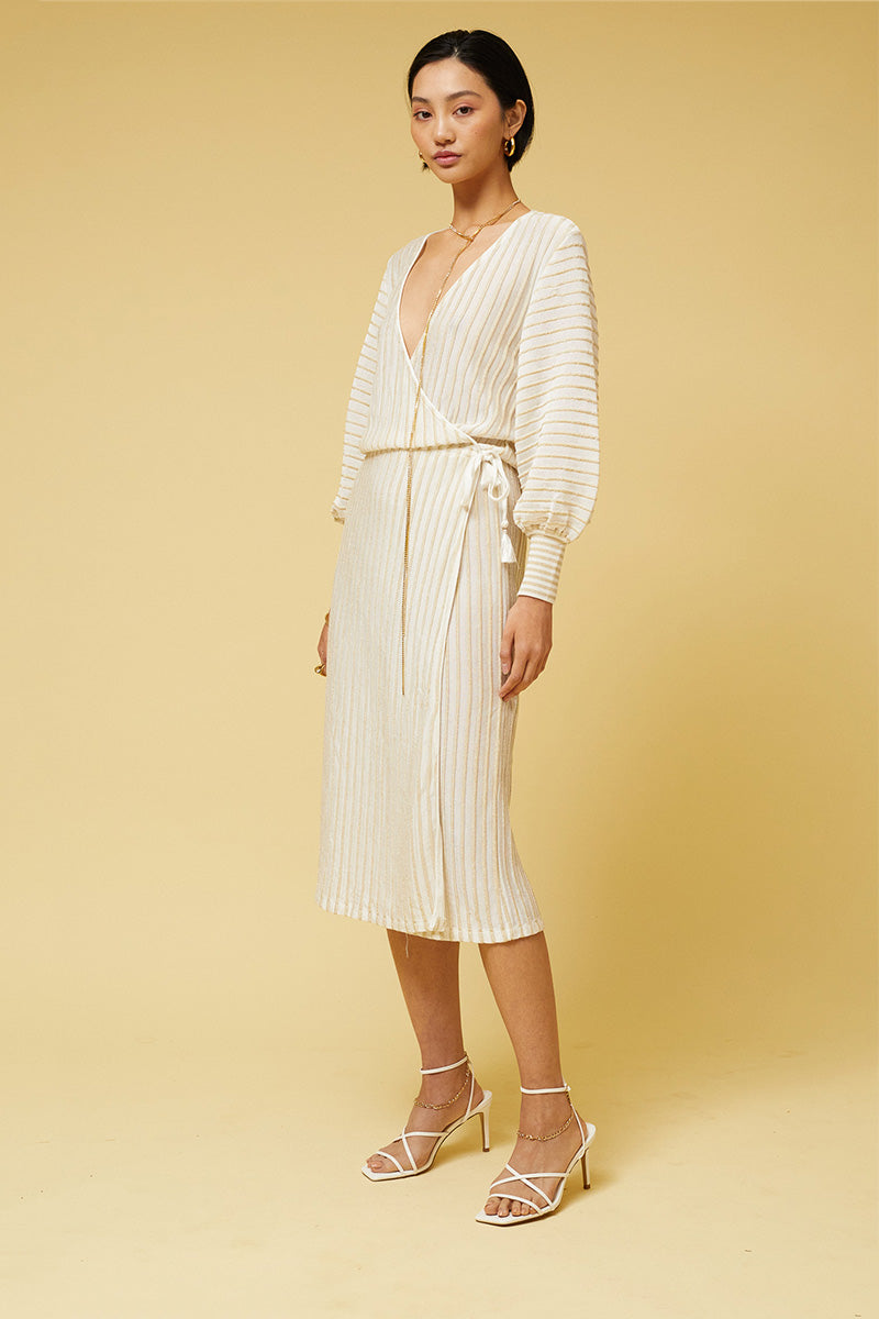 Adele Stripe Wrap Midi Dress