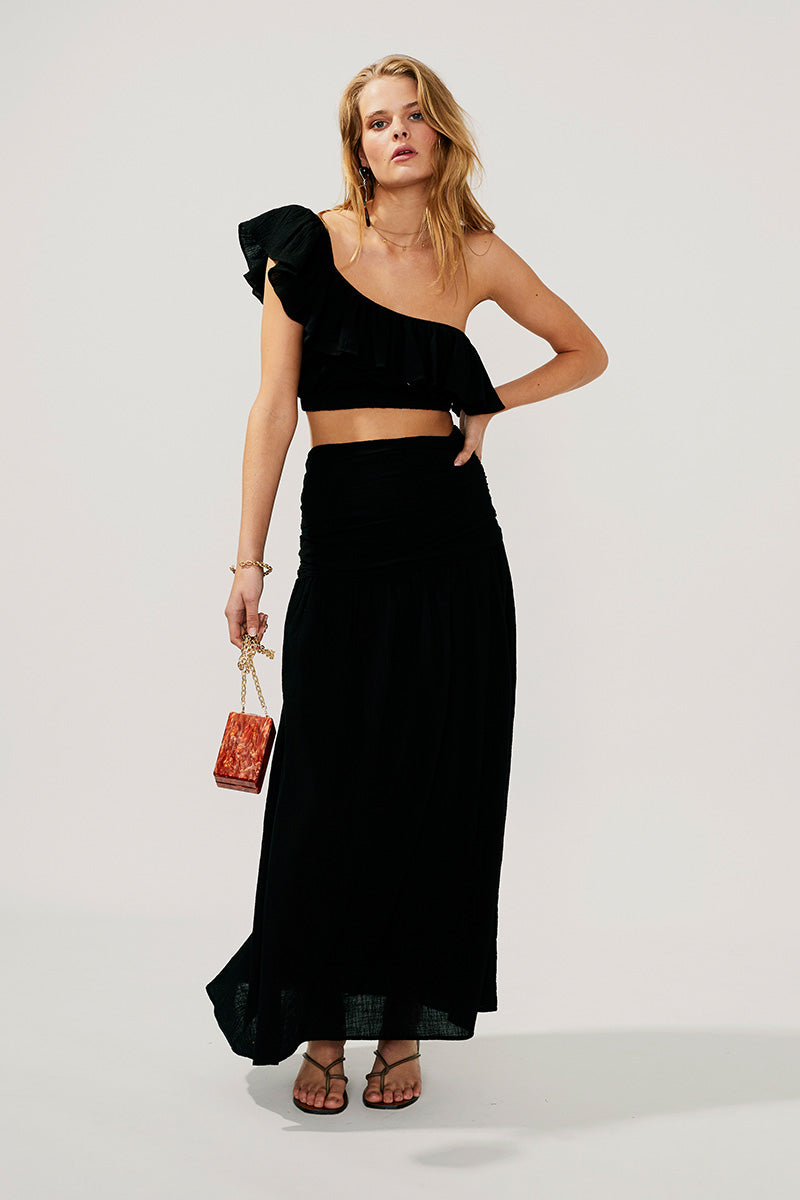 Alva Gathered Maxi Skirt-Black