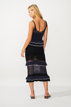 Angel Knit Midi Dress - Navy/Black/Ivory