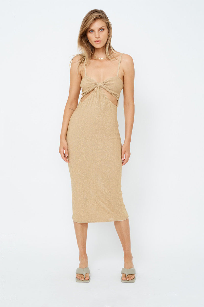 Billie Knit Cut Out Midi Dress - Gold