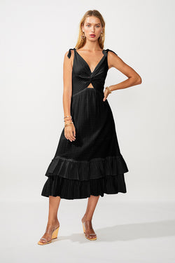 The Crossing Twist Front Maxi Dress - Black