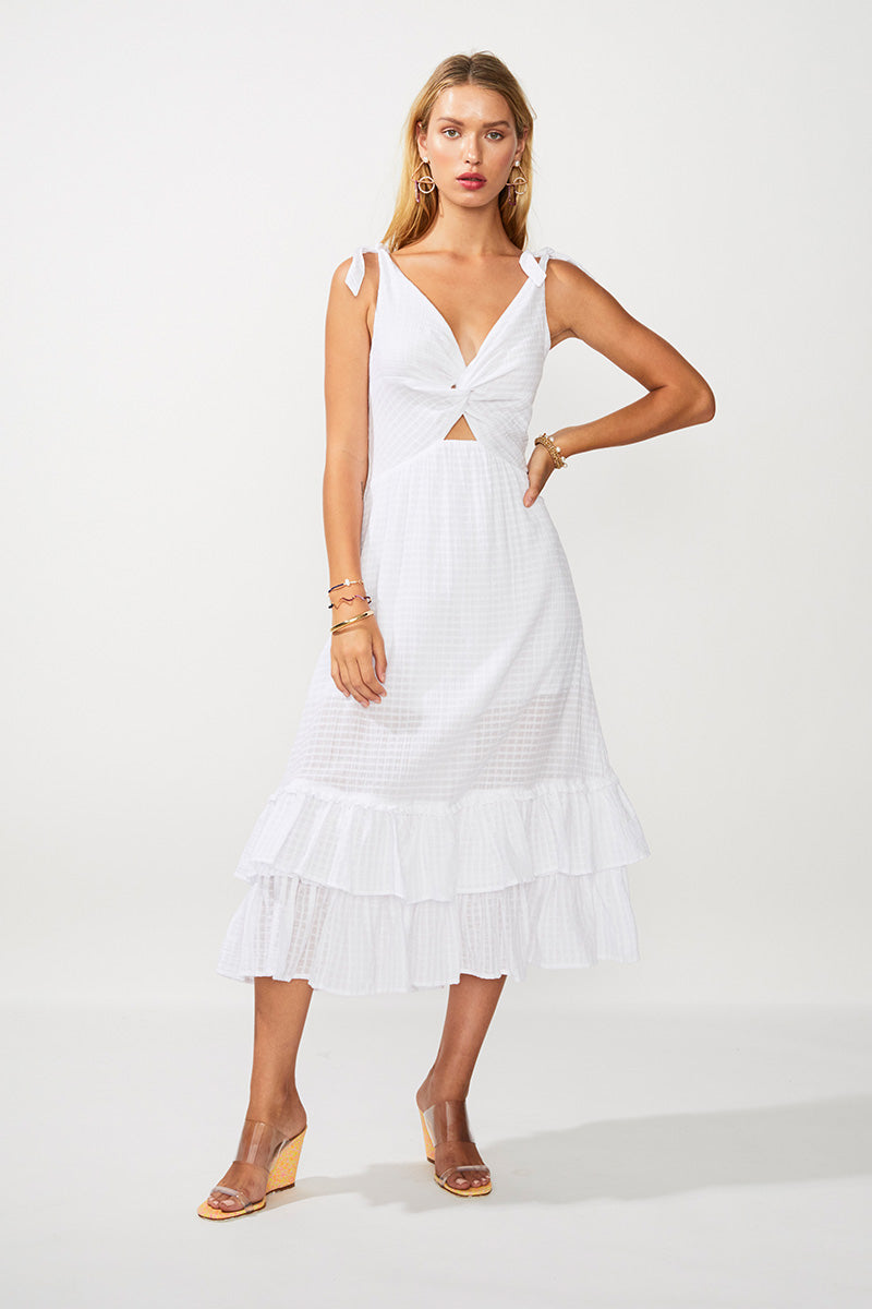 The Crossing Twist Front Maxi Dress - Ivory