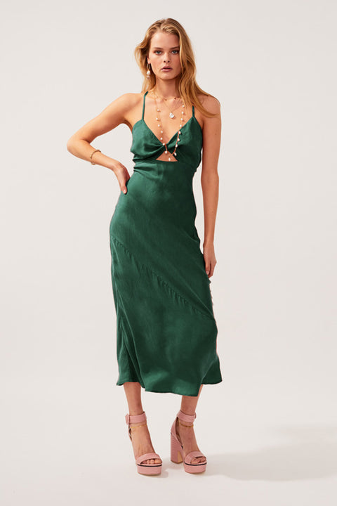 Georgia Twist Front Slip Dress - Green *PRE-ORDER*