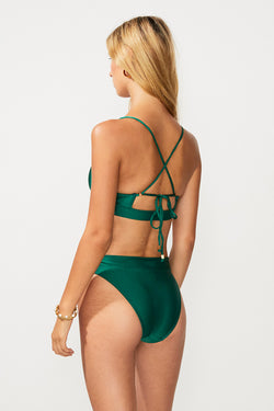 Green Dream Tie Front Bikini Top - Bottle Green