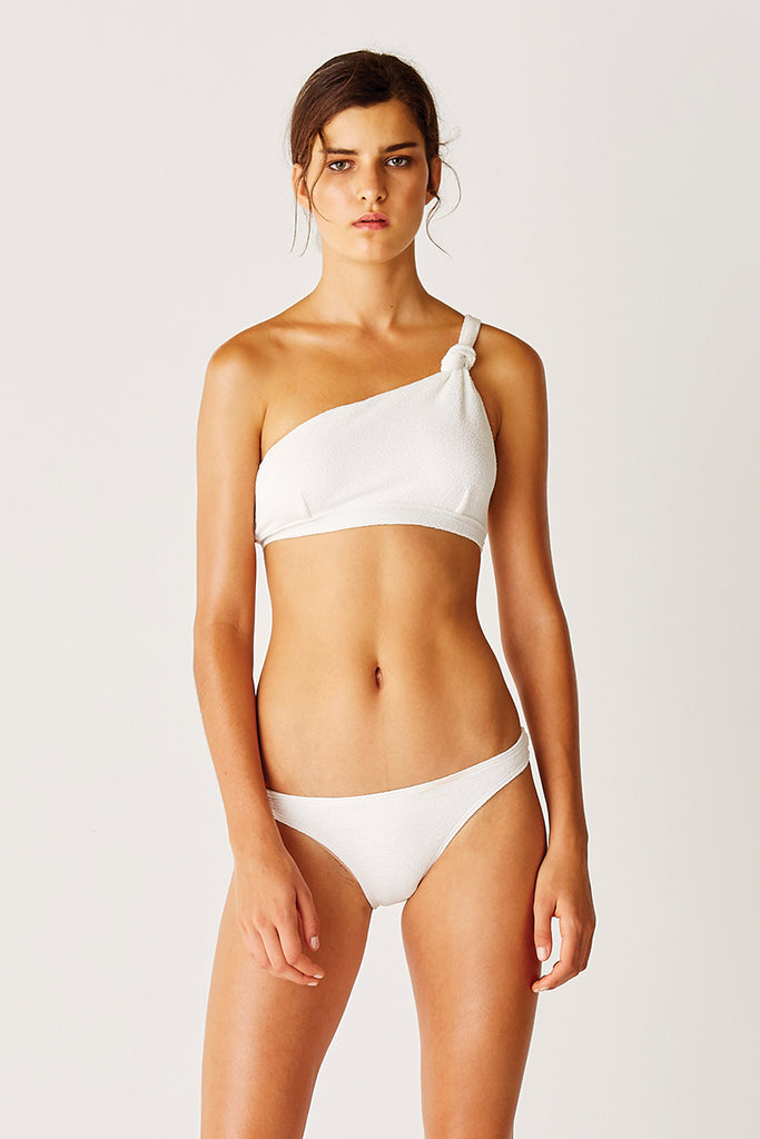 One Shoulder Knot Bikini Top - WHITE