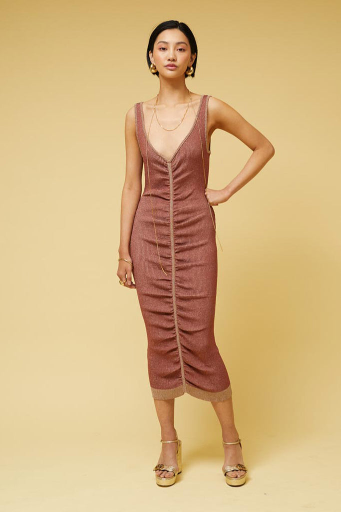 Leah Knit Rouched Midi Dress - Rust