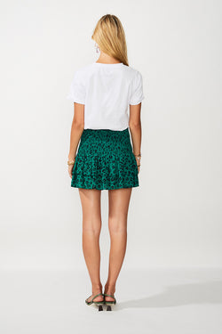 Leopard Lights Shirred Mini Skirt - Green Print