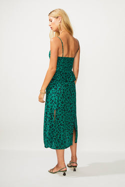 Leopard Lights Gathered Split Dress - Green Print