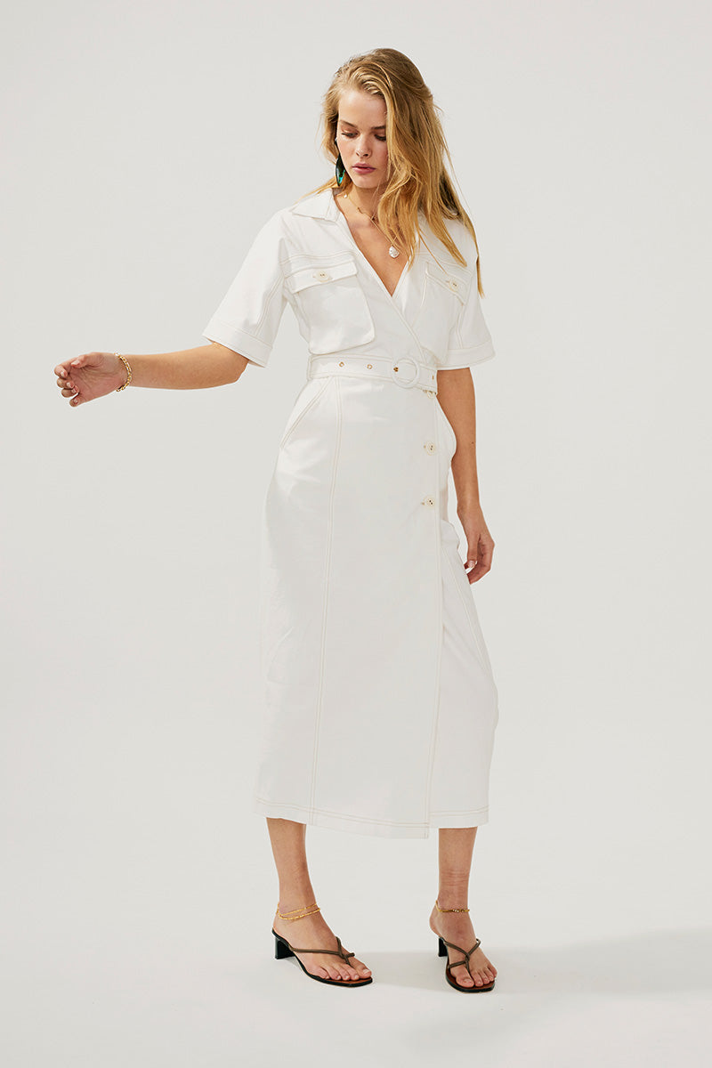 Lila Button Wrap Dress