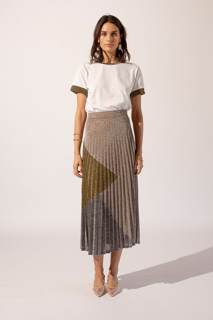 Luna Lurex Pleat Skirt