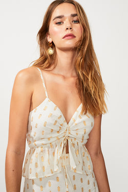 Montana Gathered Front Cami - Ivory/Gold Spt
