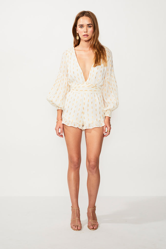 Montana Playsuit - Ivory/Gold Spt