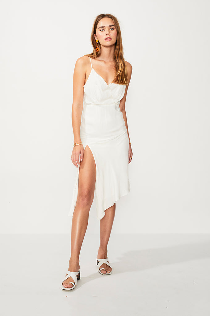 Nadia Asymmetric Split Hem Dress - Ivory/Gold Strp