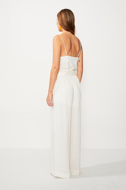 Nadia Wide Leg High Waist Pant - Ivory/Gold Strp