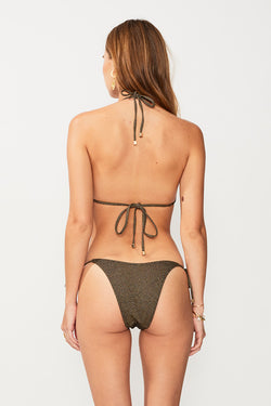 Nadia Tie Side High Cut Bottom - Black/Gold Strp