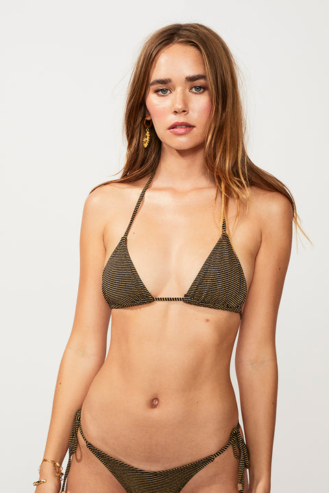 Nadia String Bikini Top - Black/Gold Strp