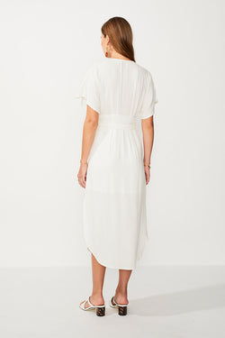 Nadia Button Front Midi Dress - Ivory/Gold Strp