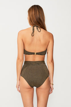 Nadia Ring Front Bandeau - Black/Gold Strp