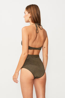 Nadia High Waisted Bottom - Black/Gold Strp