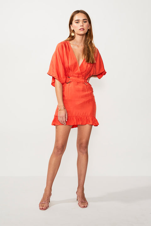 Rocky Cross Over Mini Dress - Tangerine