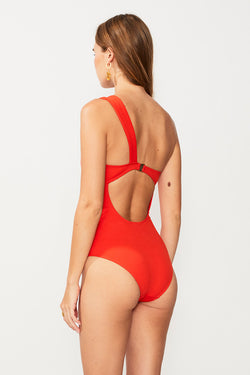 Rocky One Shoulder One Piece - Tangerine