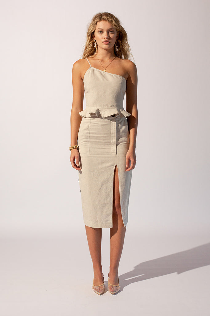 Sandy Midi Split Button Skirt