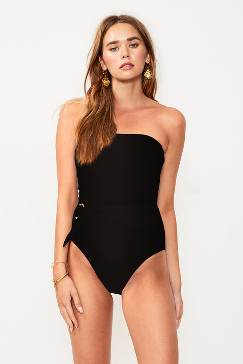 Savanah Belted Strapless One Piece - Black