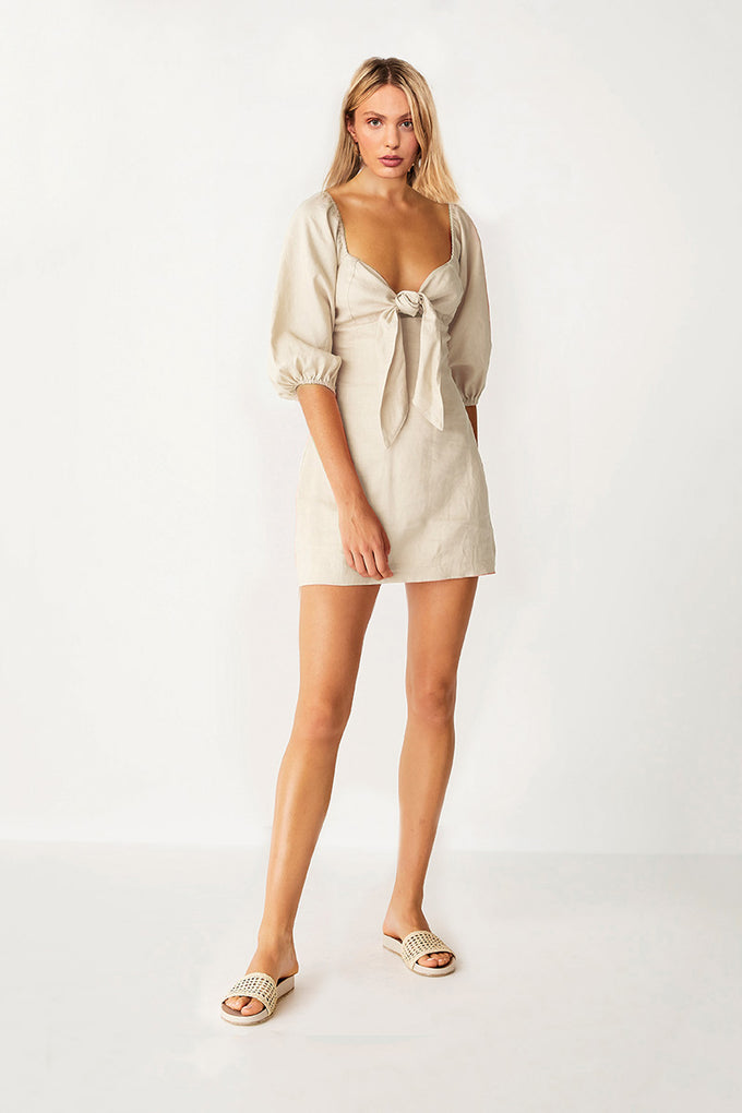 Wanderer Tie Front Mini Dress - Beige