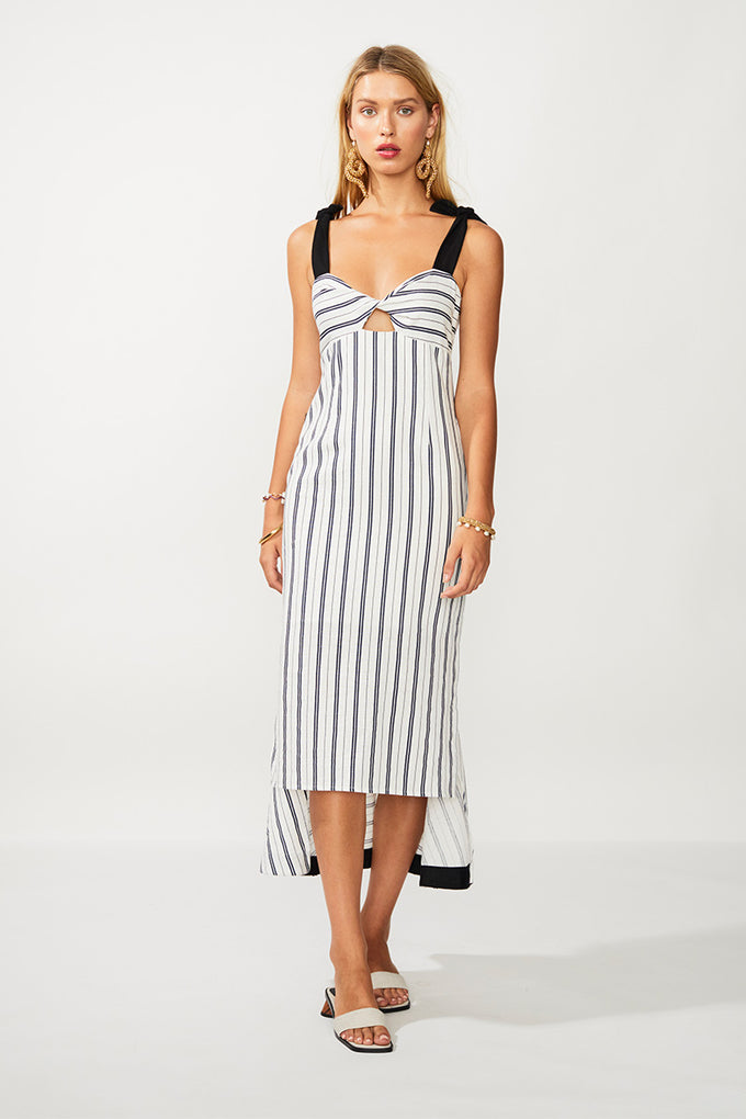 Straighty 180 Tie Strap Midi Dress - Ivory/ Navy