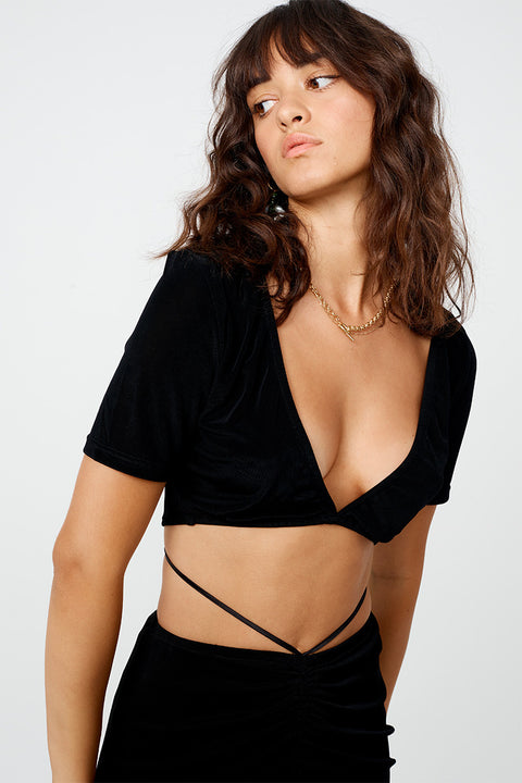 The Liz Rouched Crop Top - Black *PRE-ORDER*