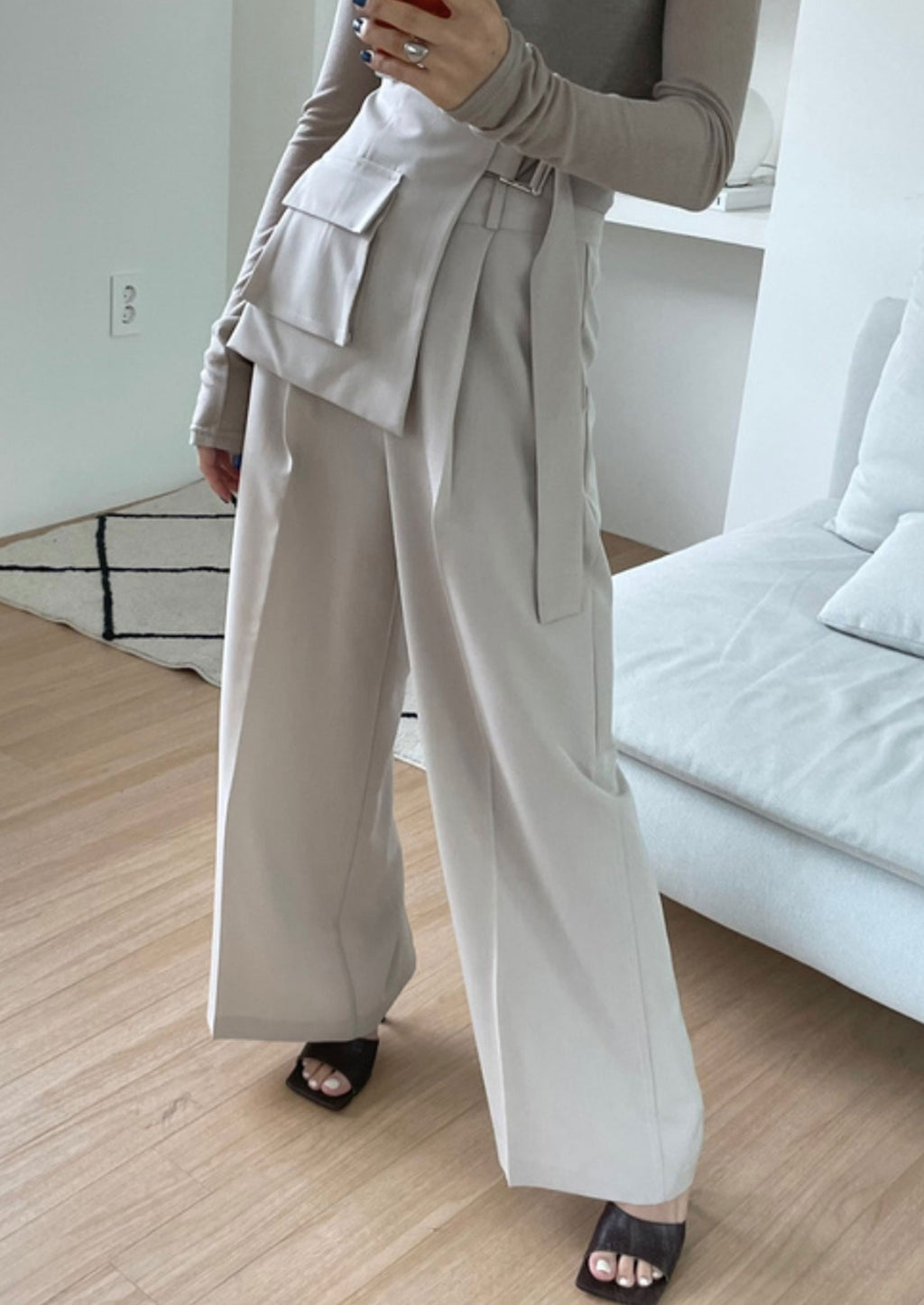 Ecru High Waisted Wide Pants