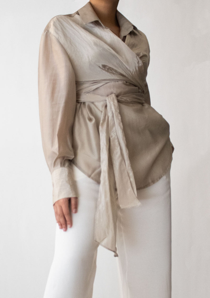 Front Wrap Shirt in Light Taupe