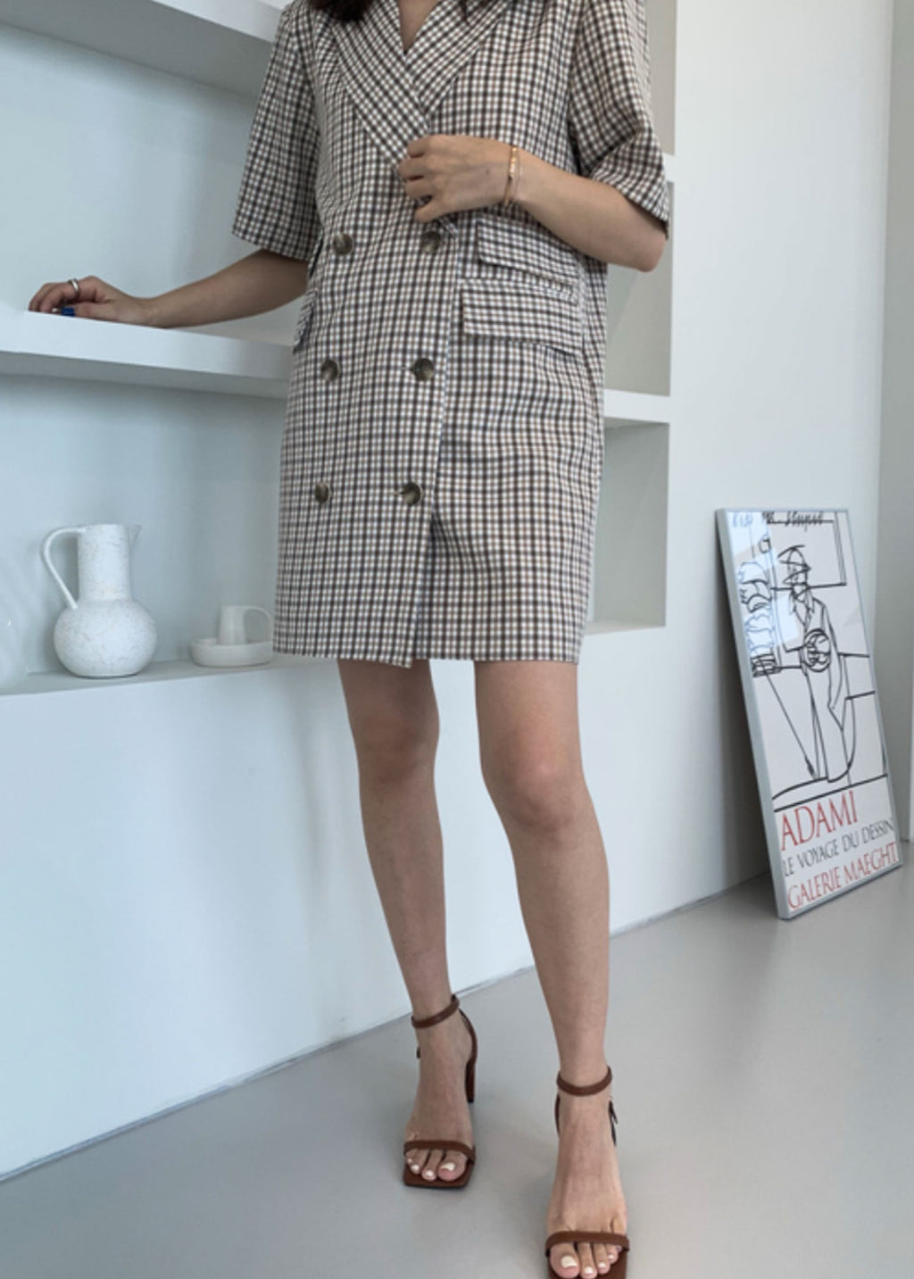 Short Sleeves Double Breasted Check Blazer Dress