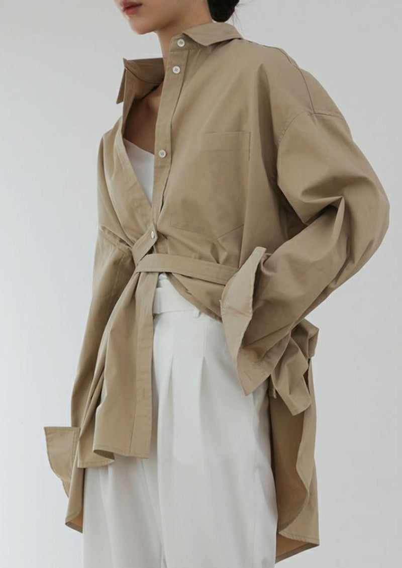 Beige Button Down Belted Shirt
