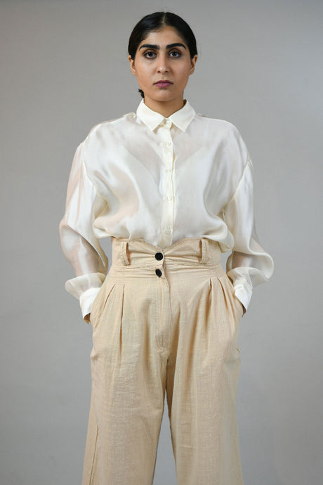 Buttoned Up Silk Off-white Top