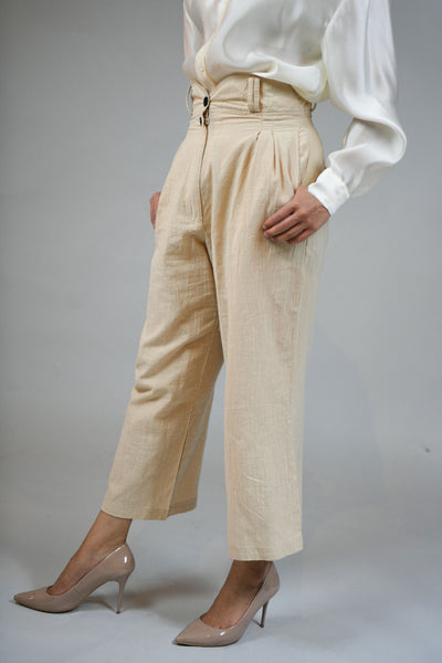 Beige Pleated Wide Linen Pants