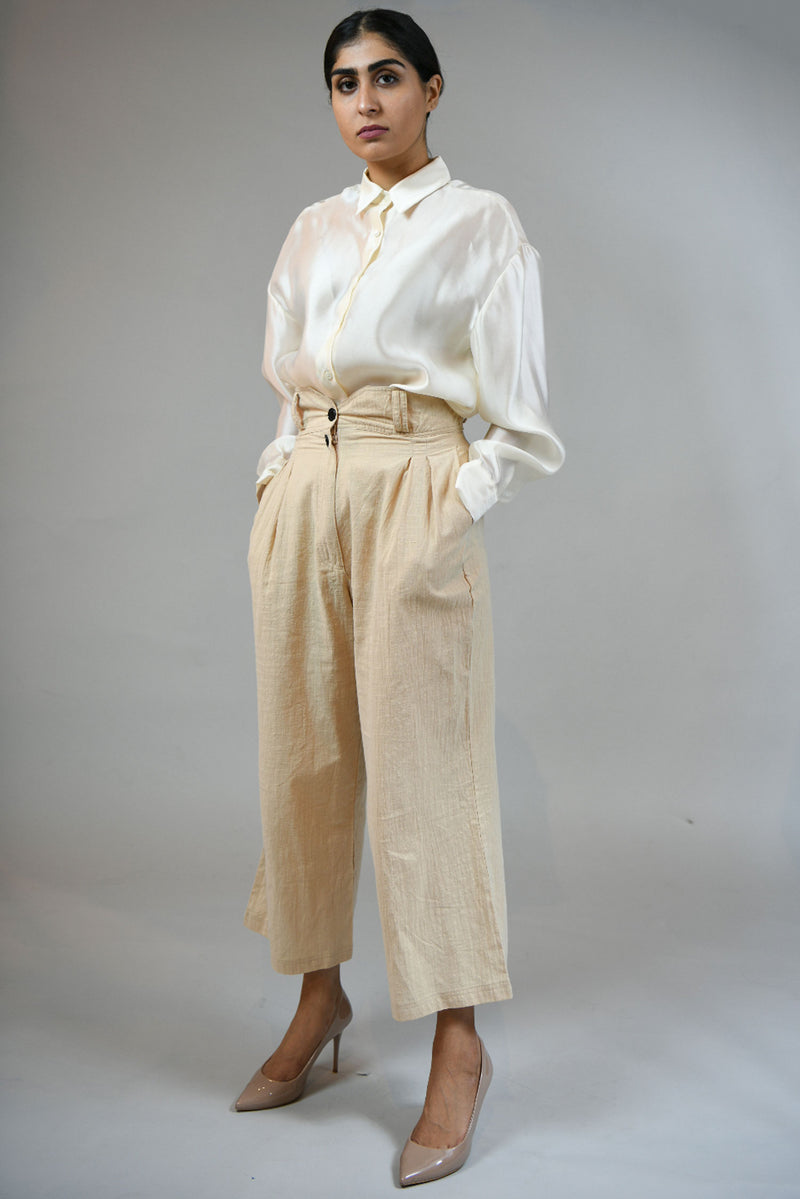 House of Sunny Beige Pleated Wide Linen Pants