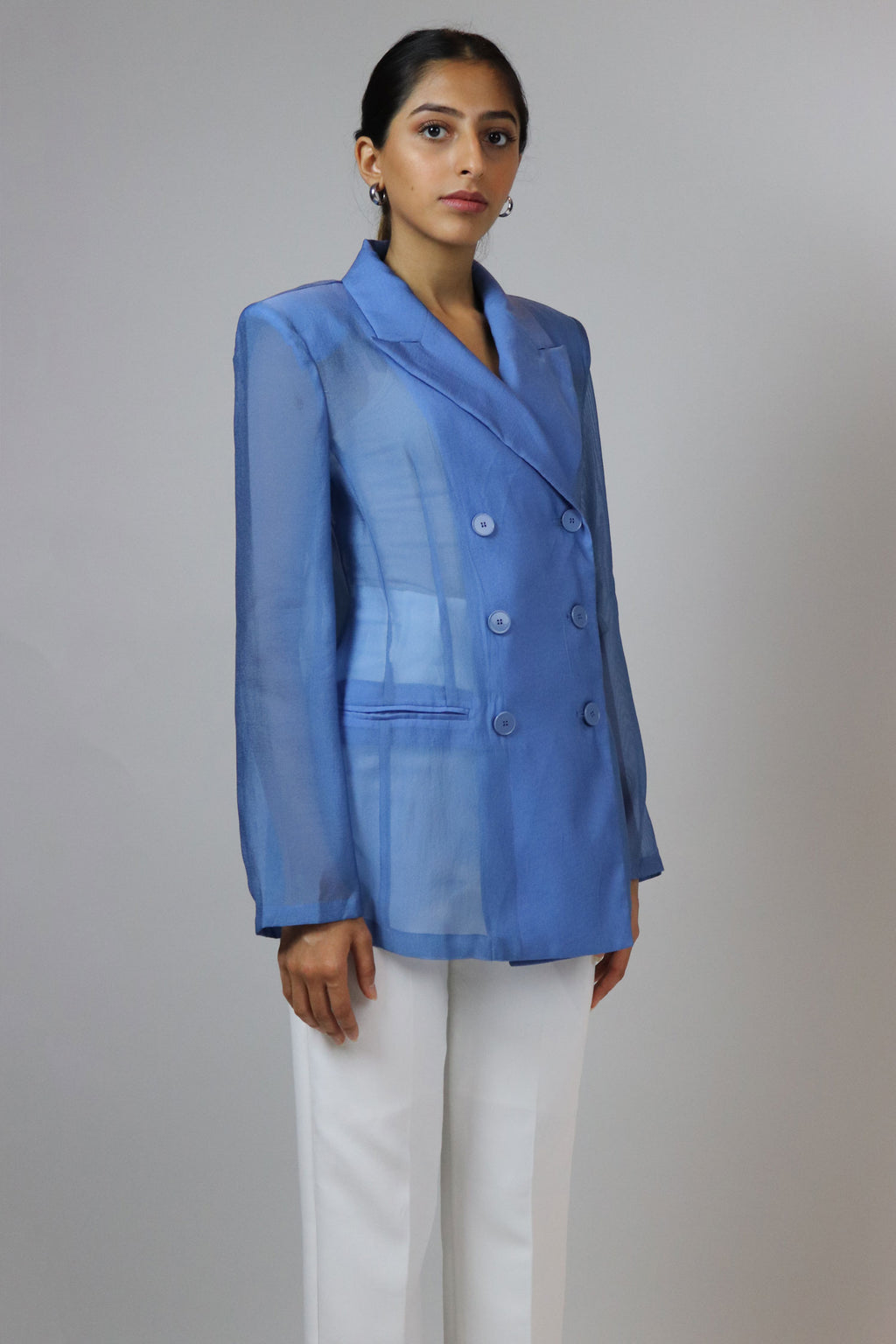 WANTS Blue Sheer Double Breasted Blazer