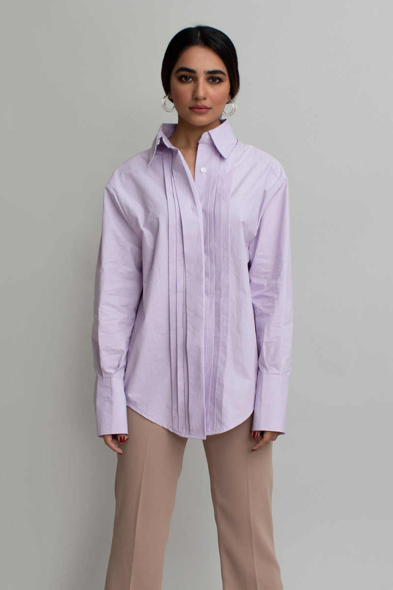 Lavender Pleats Oversized Shirt