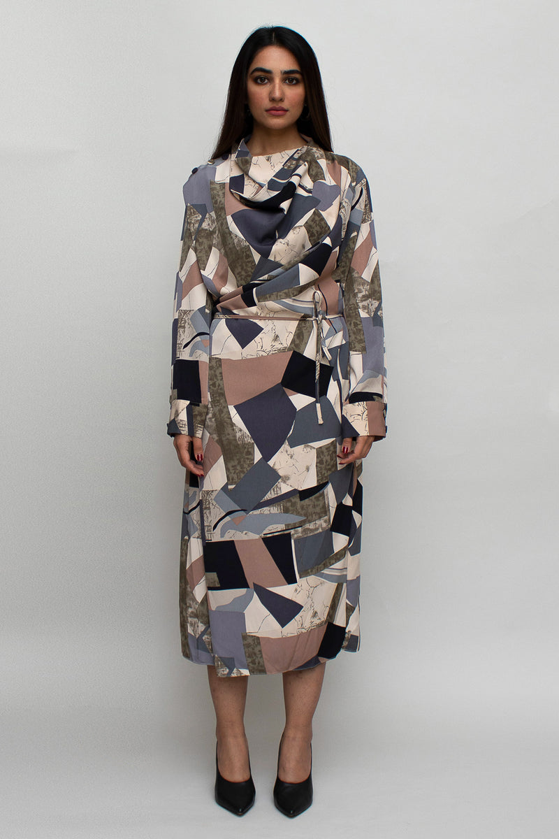 Geometric Pattern  Midi Dress