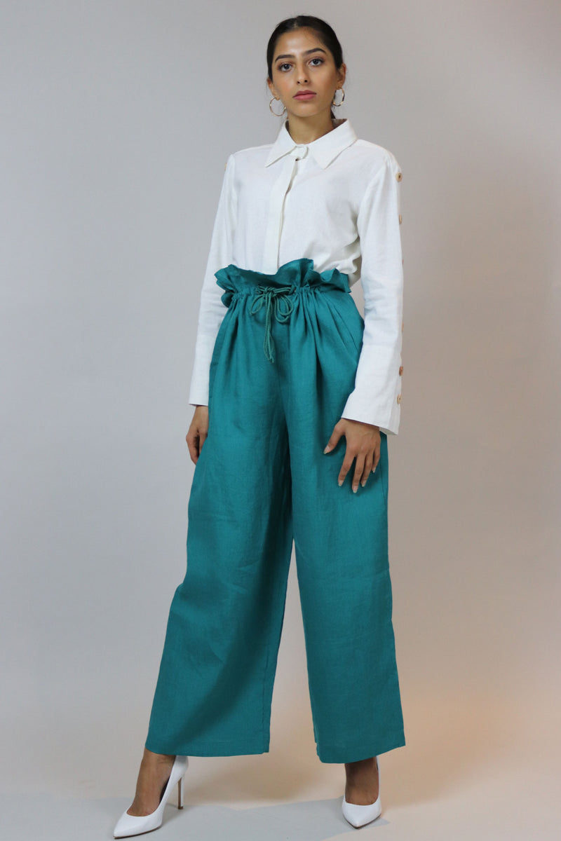 WANTS Teal Linen Elastic Waist Pants
